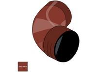 Falcované pozinkované koleno 100 mm/72° RAL 8004 cihlově červená barva